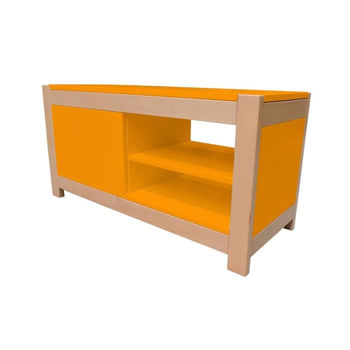 Meuble tv 1 porte berlin orange achat vente meuble tv for Meuble orange