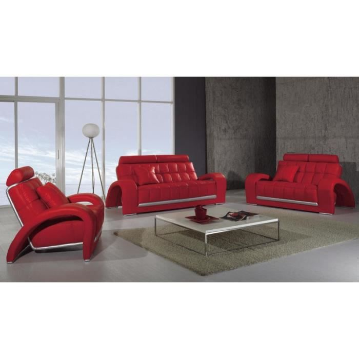 ensemble salon cuir rouge 3 1 1 places verdi achat vente ensemble canapes cuir soldes d s. Black Bedroom Furniture Sets. Home Design Ideas