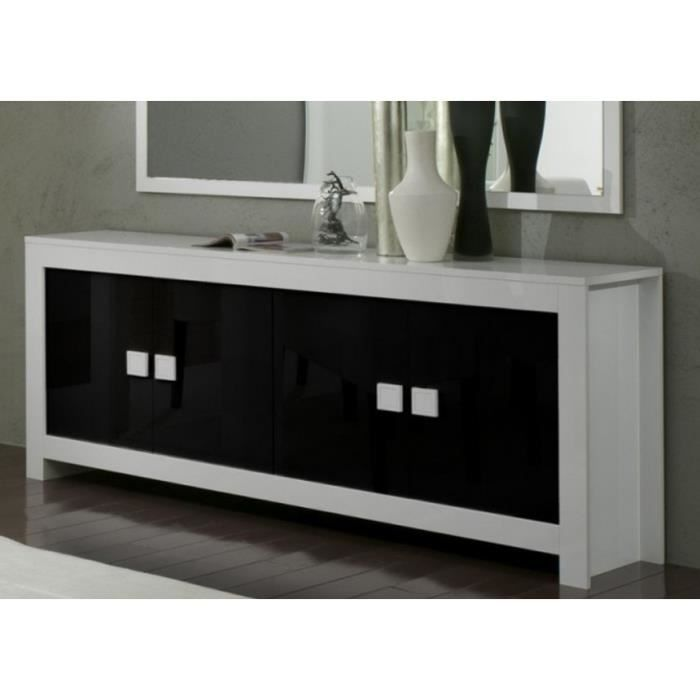 buffet et table repas 160 cm laqu s blanc et noir pisi achat vente salle manger buffet et. Black Bedroom Furniture Sets. Home Design Ideas