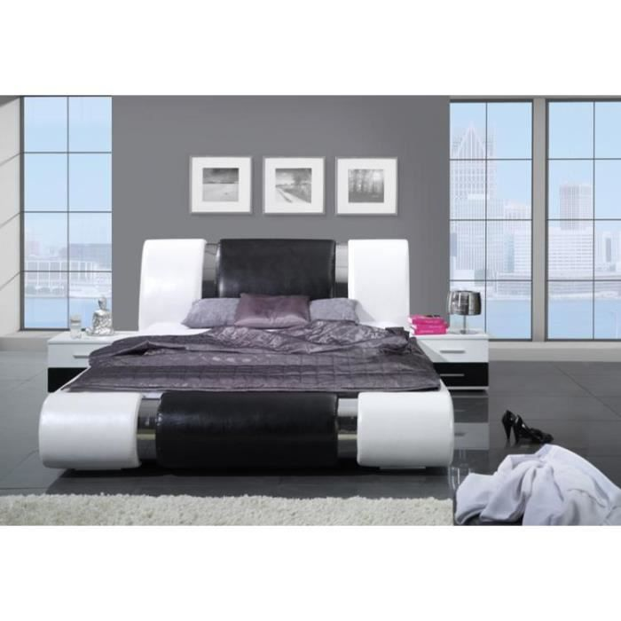 lit design kansas 140x200 cm noir et blanc simili achat vente lit complet lit design kansas. Black Bedroom Furniture Sets. Home Design Ideas