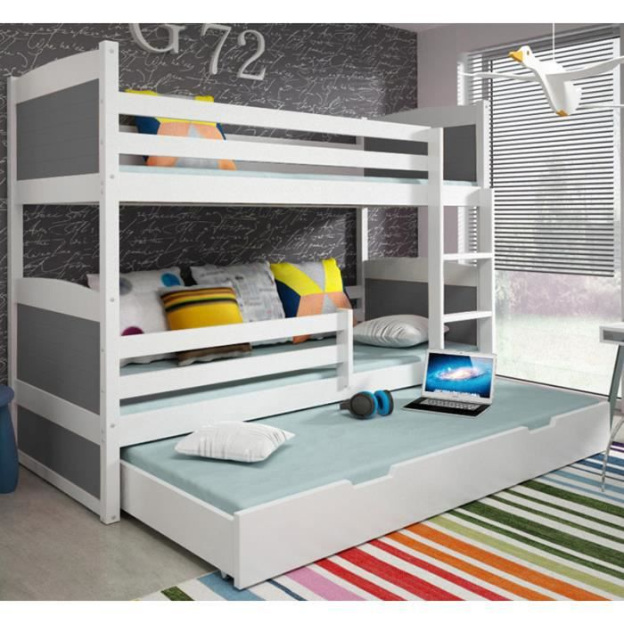 lit superpos rico 3 en pin 160x80 blanc achat vente lits superpos s lit superpos rico 3. Black Bedroom Furniture Sets. Home Design Ideas