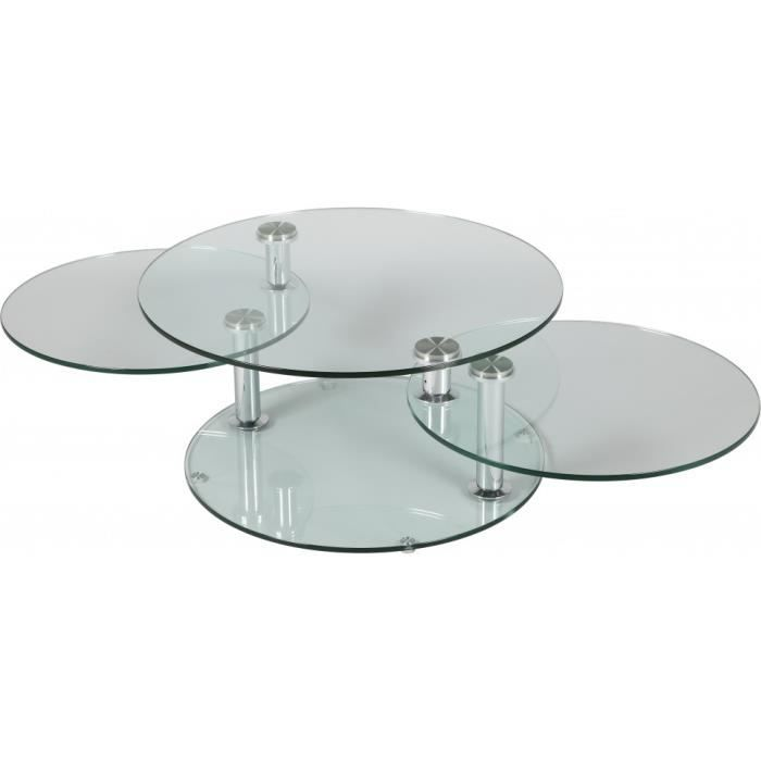 table basse ronde en verre 3 plateaux achat vente. Black Bedroom Furniture Sets. Home Design Ideas