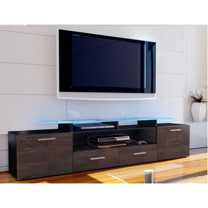 meuble tv noir et bois weng 194 cm achat vente meuble. Black Bedroom Furniture Sets. Home Design Ideas