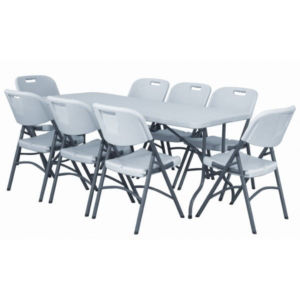 Ensemble table et chaises pliantes 8 personnes achat for Ensemble table et chaise 6 personnes