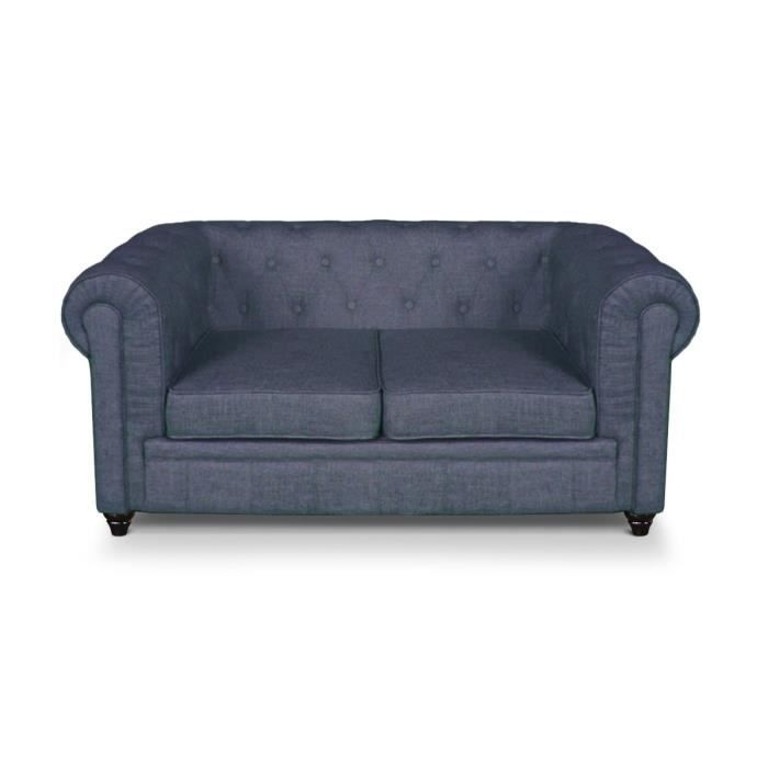 Canap chesterfield 2 places lin bleu achat vente canap sofa divan l - Canape chesterfield 2 places ...