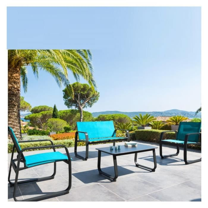 salon detente exterieur gili bleu lagon achat vente salon de jardin salon detente gili bleu. Black Bedroom Furniture Sets. Home Design Ideas