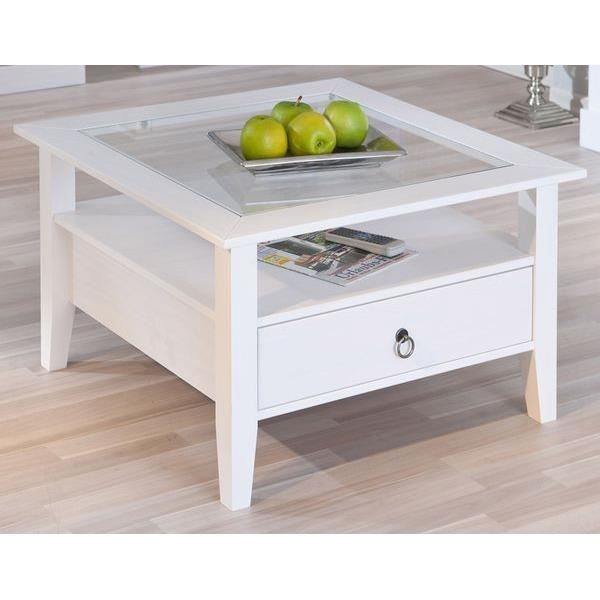 Table basse carr e 1 tiroir en pin provence1 achat vente meuble tag re t - Table de salon avec tiroir ...
