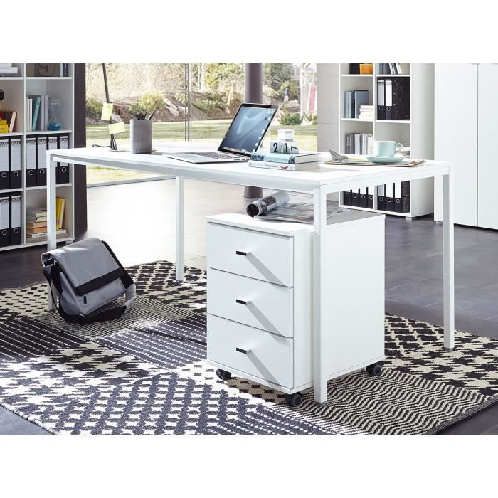 bureau droit contemporain coloris blanc monty achat vente bureau bureau droit contemporain c. Black Bedroom Furniture Sets. Home Design Ideas