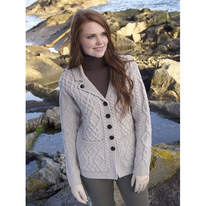 cardigan irlandais femme beige parsnip achat vente gilet cardigan cdiscount. Black Bedroom Furniture Sets. Home Design Ideas