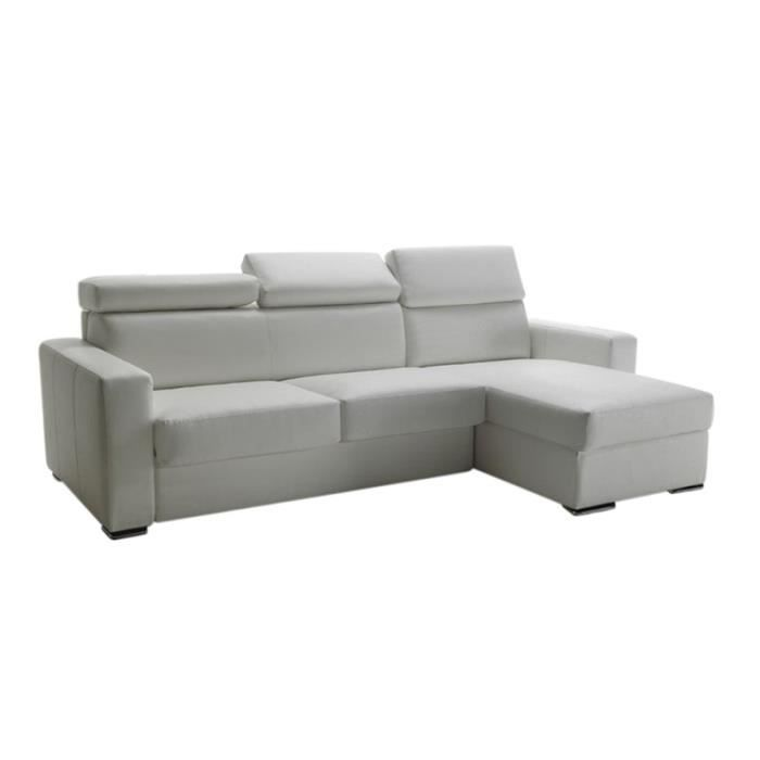 canap lit d 39 angle omega vrai cuir blanc 140x190 achat vente canap sofa divan cuir. Black Bedroom Furniture Sets. Home Design Ideas