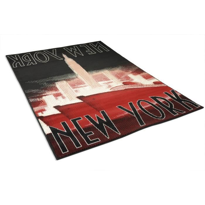 tapis salon new york noir et rouge universol achat vente tapis cdiscount. Black Bedroom Furniture Sets. Home Design Ideas