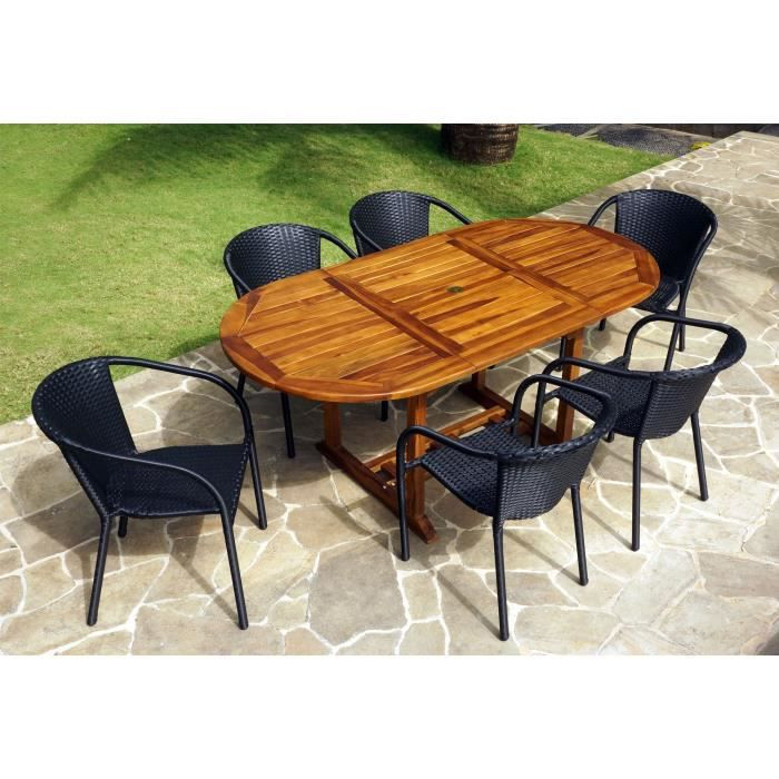 Salon de jardin teck 180cm et 6 fauteuils bora en r sine for Table de salon en teck occasion