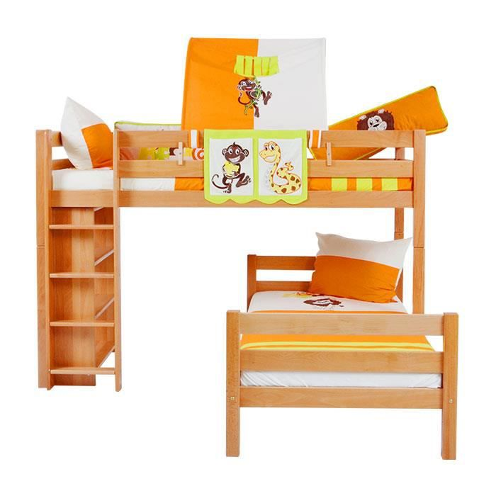 lit sur lev lit enfant tim h tre massif vernis naturel princesse achat vente lit complet. Black Bedroom Furniture Sets. Home Design Ideas