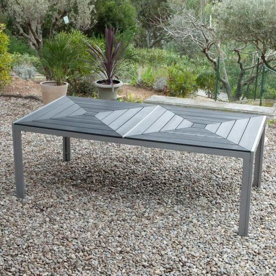 Salon de jardin 8 places en aluminium et composite : 1 table 212.5 ...