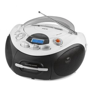 AEG SR 4353 WH Radio CD MP3 Cassette - Aux-In - LCD - Blanc
