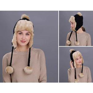BONNET - CAGOULE Bonnet en Tricot Double Polaire Femme Couleur Unie