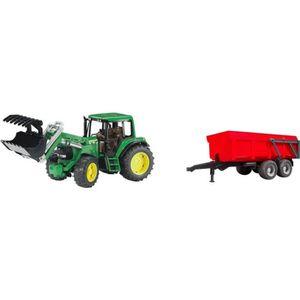 TRACTEUR - CHANTIER BRUDER Tracteur John Deere avec fourche et remorqu