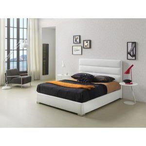 STRUCTURE DE LIT Lit HUASCA 140x190-200cm en PU blanc - L 200 x l 1