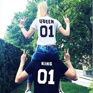 T-SHIRT King Queen Couple T-Shirt Partner Noir/Blanc Look