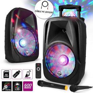 ENCEINTE ET RETOUR Enceinte mobile Sono DJ PA Karaoké 600W XTREMBALL