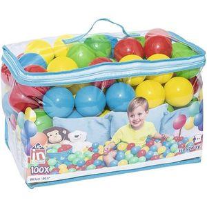 BALLON - BÂTON SAUTEUR Sac de 100 Balles Multicolores en Plastique Bestwa
