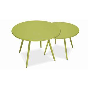 TABLE BASSE Tables basses de jardin gigognes vertes