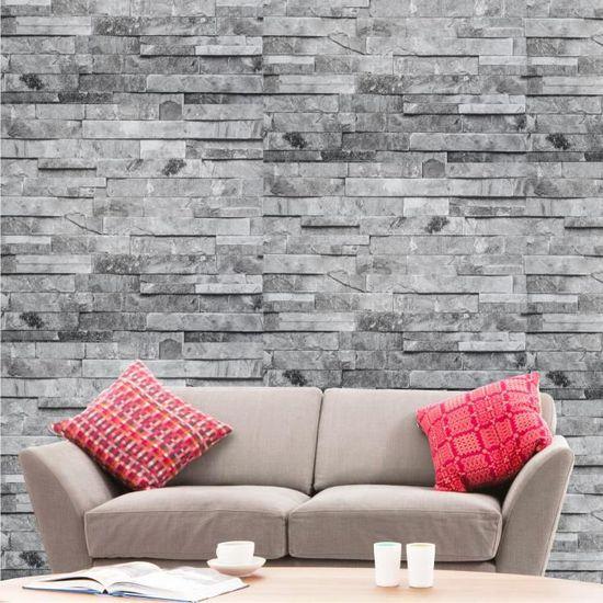 Papier Peint Effet Briques 3d Pierre Grises 10 X 0 53 M