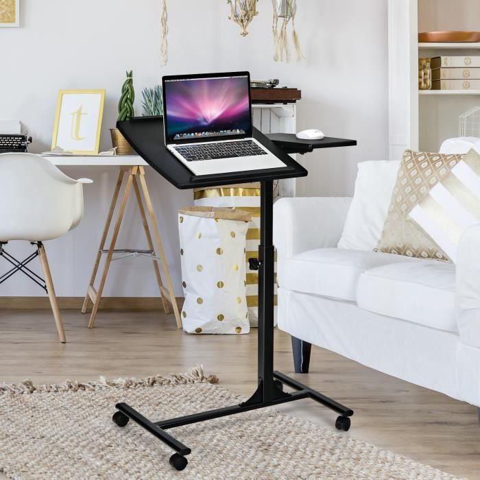 COSTWAY Table pour Ordinateur Portable à Roulettes Table de Lit Hauteur Réglable avec Support de Souris Plateau Inclinable Noir