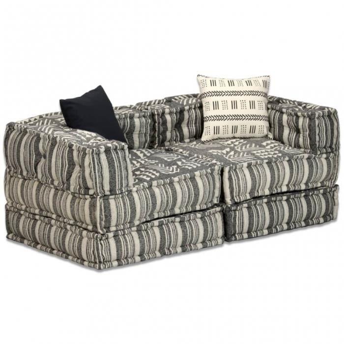 Canapé 2 places modulable + coussins en tissu rayé gris/crème L.140CM CS2449781