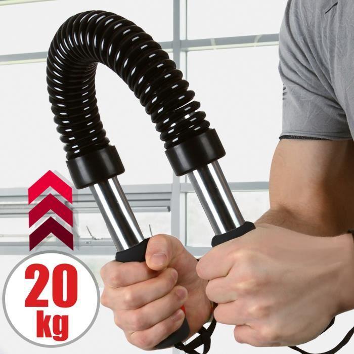 Power Twister Barre à Ressort 20 kg Résistance Musculation des Pectoraux et Épaules Appareil Bras Biceps Triceps Poignets Avant-Bras