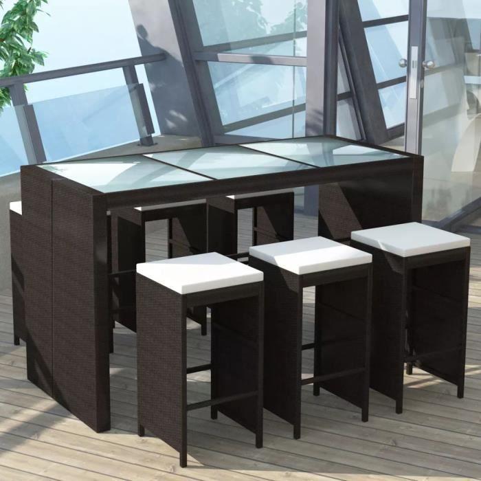 Magnifique - Ensemble Table de bar + 6 tabourets bar et coussins - Meuble de bar de jardin 7 pcs Résine tressée Marron