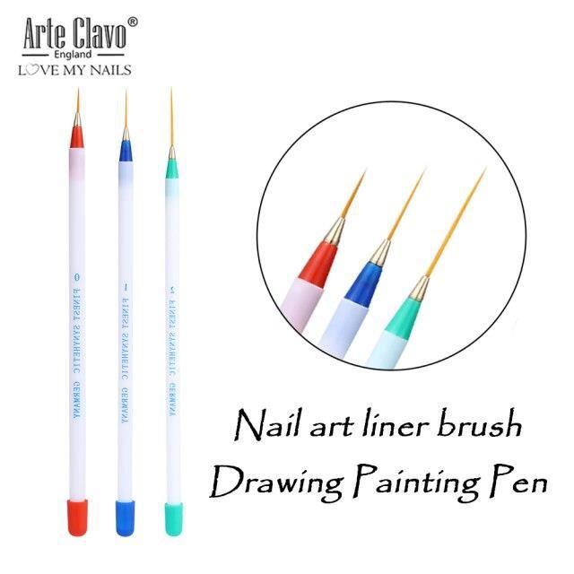 vernis à ongles Gel UV 3D, brosse de peinture à rayures et fleurs, pointes de stylo acrylique, Design bricolage, outils *HH15116
