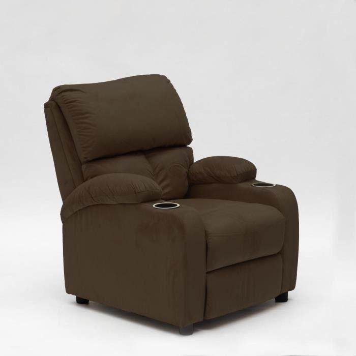 Fauteuil relax inclinable avec repose-pieds en microfibre de velours LUCREZIA - couleur:Marron