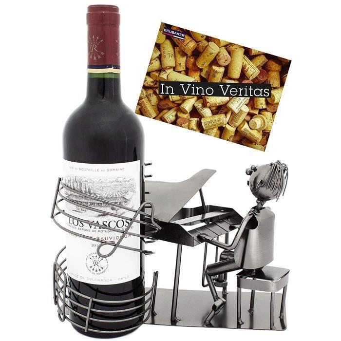 Brubaker - Porte-Bouteille de vin - Pianiste Chanteur-Piano à Queue - Métal - Carte de vœux Incluse - Idée Cadeau Originale - Objet