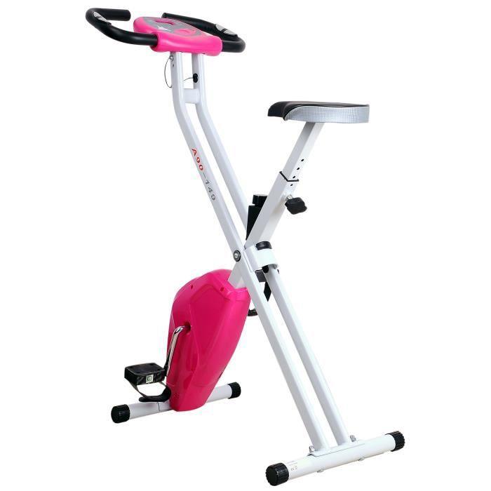 Vélo d'appartement cardio Fitness pliable écran LCD 8 niveaux de résistance selle réglable 83x43x110cm Rose