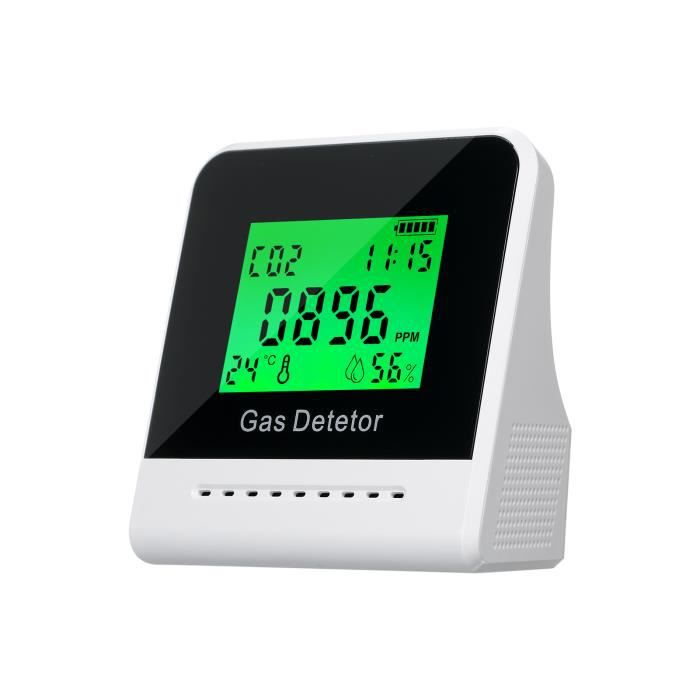 Compteur de CO 2, détecteur de dioxyde de carbone intérieur, grand écran LCD à induction de semi-conducteur Détection de CO 2