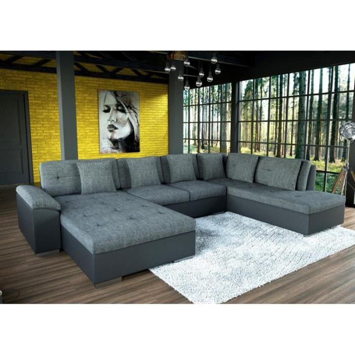 Canapé d'angle XXL SMILE en gris et noir tendance design