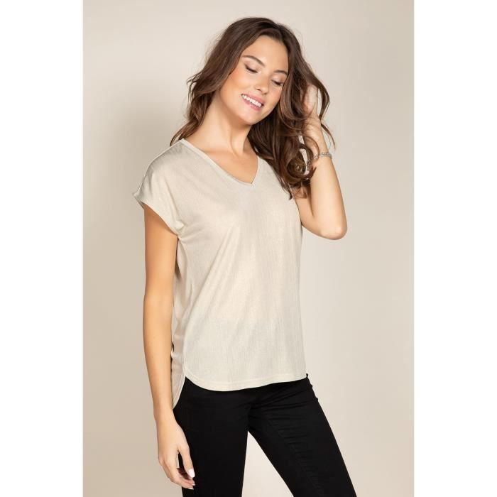 DEELUXE T-shirt brillant fluide BELI Light Silver