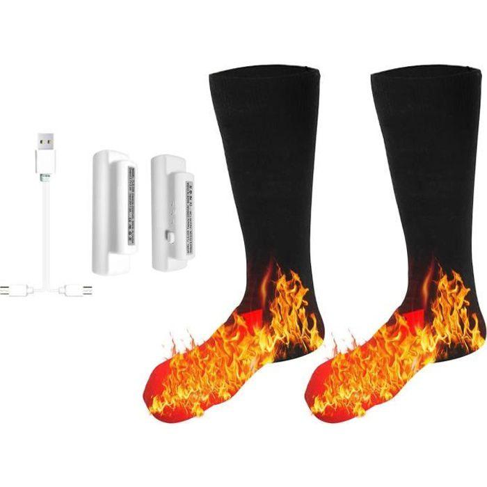 Chaussettes chauffantes électriques 3,7 V, chauffe-pieds à batterie lavable pour le ski d'hiver Randonnée Pêche