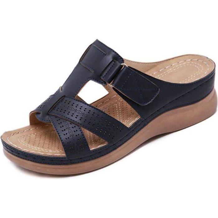 Sandales orthopédiques à bout ouvert pour femmes Noir
