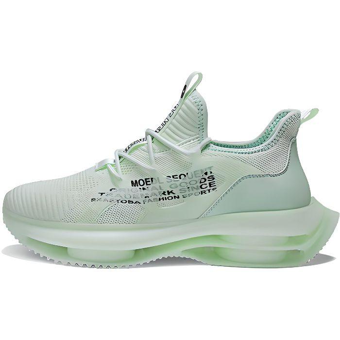 Chaussures de sport pour hommes, semelle pop-corn, chaussures intérieures en maille respirante rehaussée-Vert océan