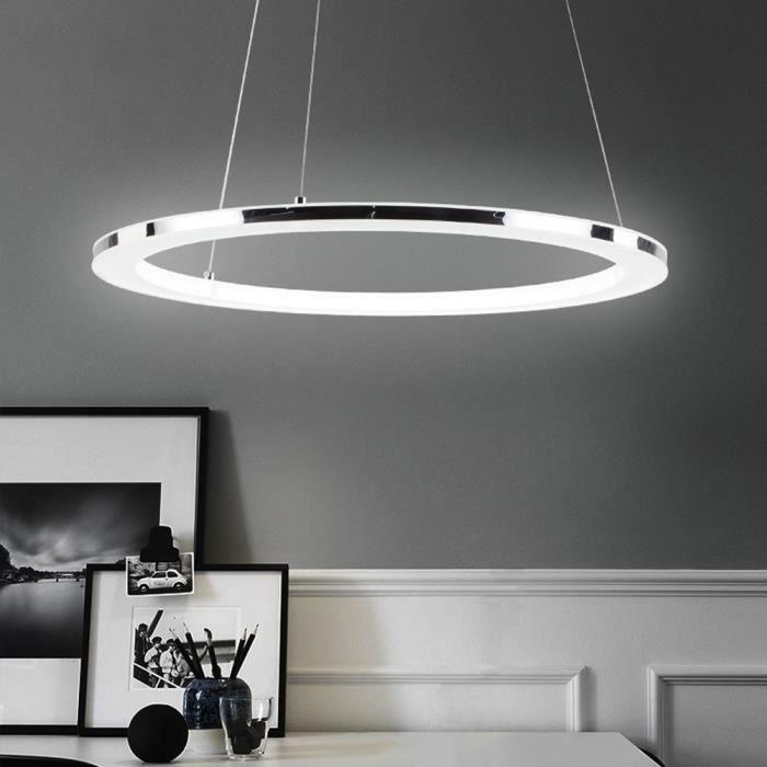 Lampe Suspensions LED Design Anneaux Pour Table à Manger Lustre de Bureau Cerle en Acier inoxydable et Acrylique Chambre Salon Bar