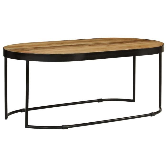 Table basse design scandinave salon contemporain Ovale Bois massif de manguier brut et acier 100 cm