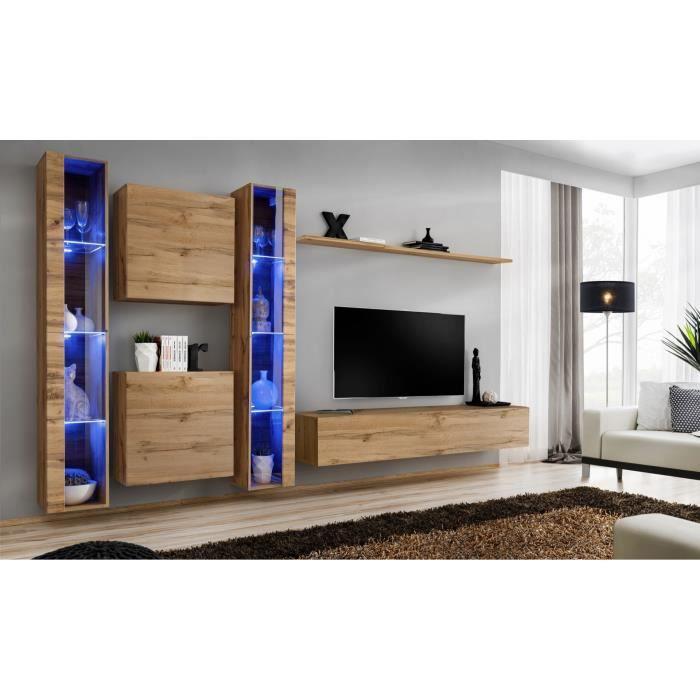 Ensemble meuble salon mural SWITCH XVI design, coloris chêne Wotan. 40 Marron