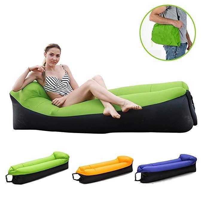 Canapé gonflable, chaise longue, lit de plage, canapé, chaise de rêve, avec sac de transport pour intérieur / extérieur VERT