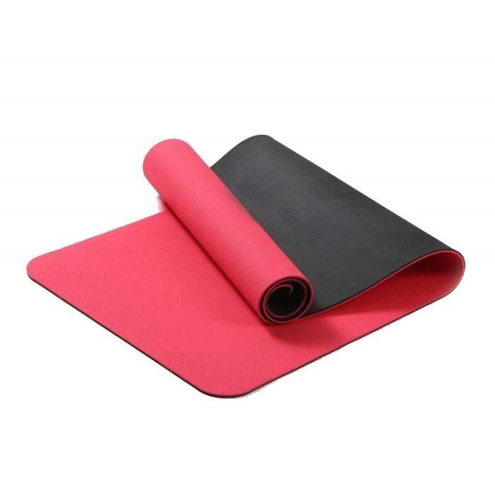 Rouge TPE Tapis De Yoga 6mm Tapis de Fitness Tablette Support Tapis De Yoga Pilates &Eacutecologique Amical sans Odeur