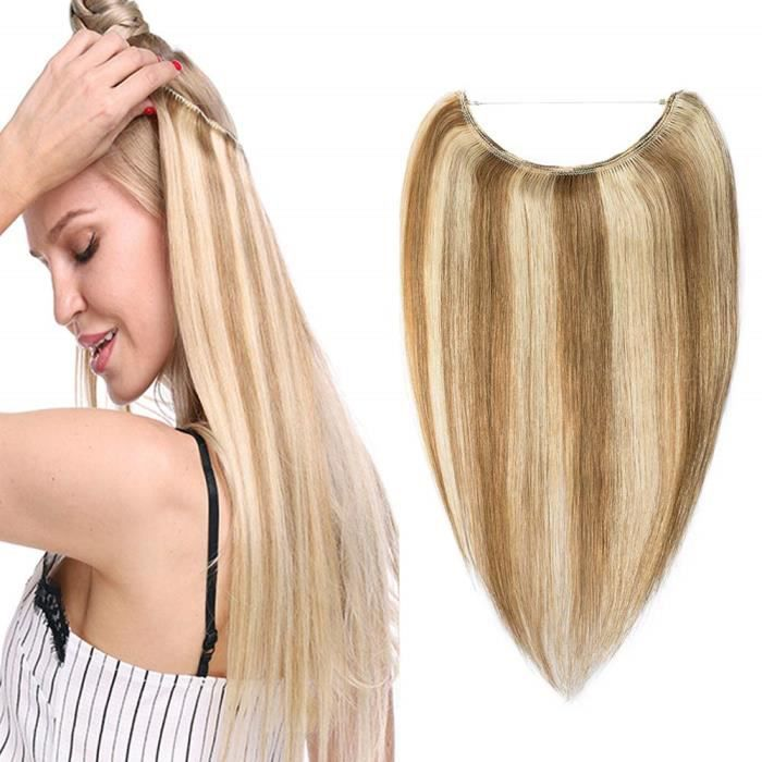 Extension Cheveux Fil Invisible Cheveux Humain Naturel Rajout Cheveux Sans Clips One Piece Wire In Hair Extension [20