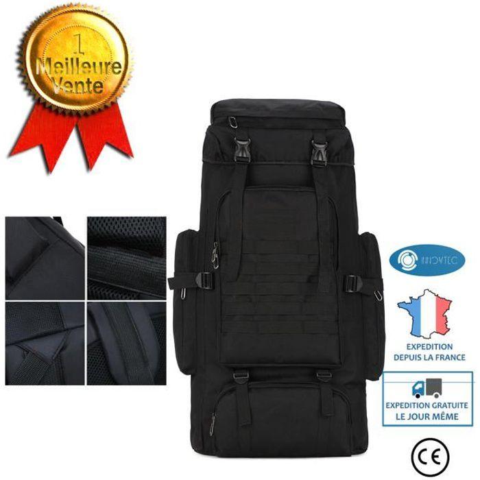 TD® Sac à dos de randonnée 60 L pour le camouflage en montagne couleur noir stockage randonnée camping matériau oxford stockage