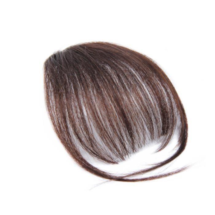 Mode One Piece Clip dans les franges de cheveux - frange - extensions de cheveux faux morceaux de cheveux (brun clair)