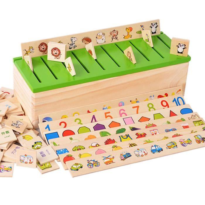 Montessori Éducation Jeu en Bois Reconnaissance Jouet Bébé Enfants Apprentissage Boîte de Classification Math Jouets